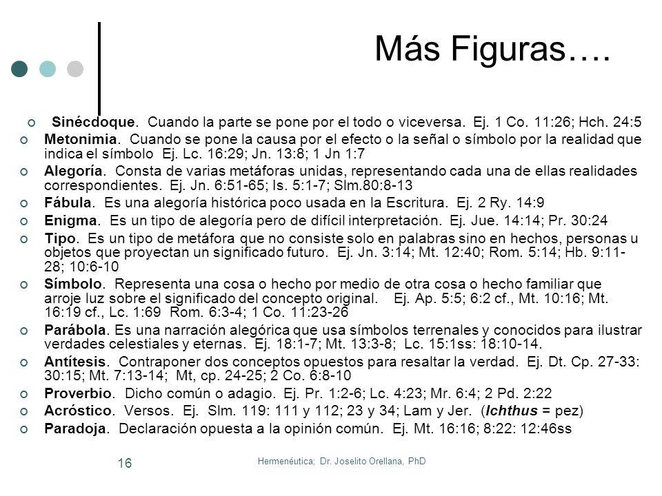 Hermenéutica; Dr. Joselito Orellana, PhD 15 8. Figuras Retóricas de Lenguaje Definición. Es una forma de expresar una palabra o una frase y tiene por