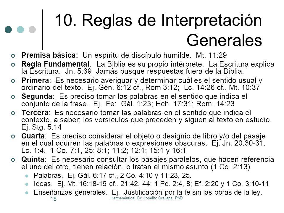 Hermenéutica; Dr. Joselito Orellana, PhD 17 9. Géneros Literarios 1. ProfecíaIsaías, Jeremías, Oseas. 2. LeyPentateuco. 3. PoesíaProverbios, Salmos. 4