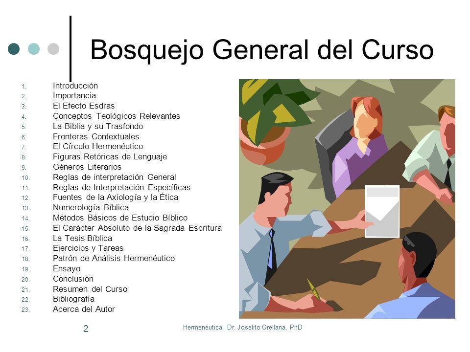 Hermenéutica; Dr.Joselito Orellana, PhD 2 Bosquejo General del Curso 1.