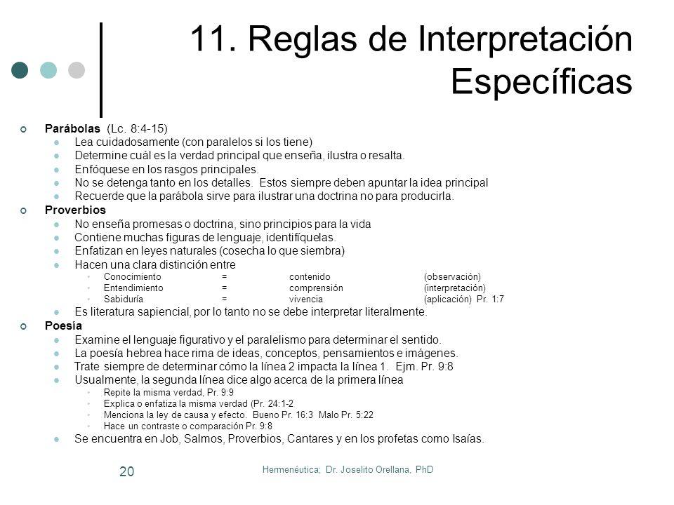 Hermenéutica; Dr. Joselito Orellana, PhD 19 Más Reglas Generales 1. Debe considerar el propósito del autor 2. Considere inicialmente una interpretació