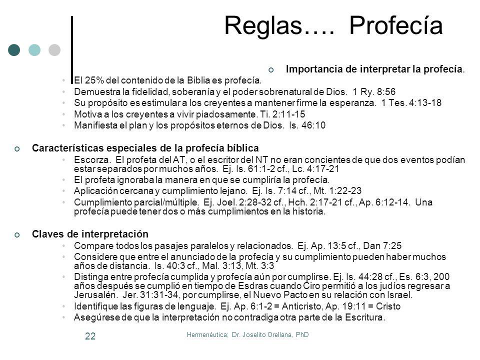 Hermenéutica; Dr. Joselito Orellana, PhD 21 Más Reglas Específicas…. Símbolos (Ap) Palabra o frase que va en lugar de algo o representa algo Su propós