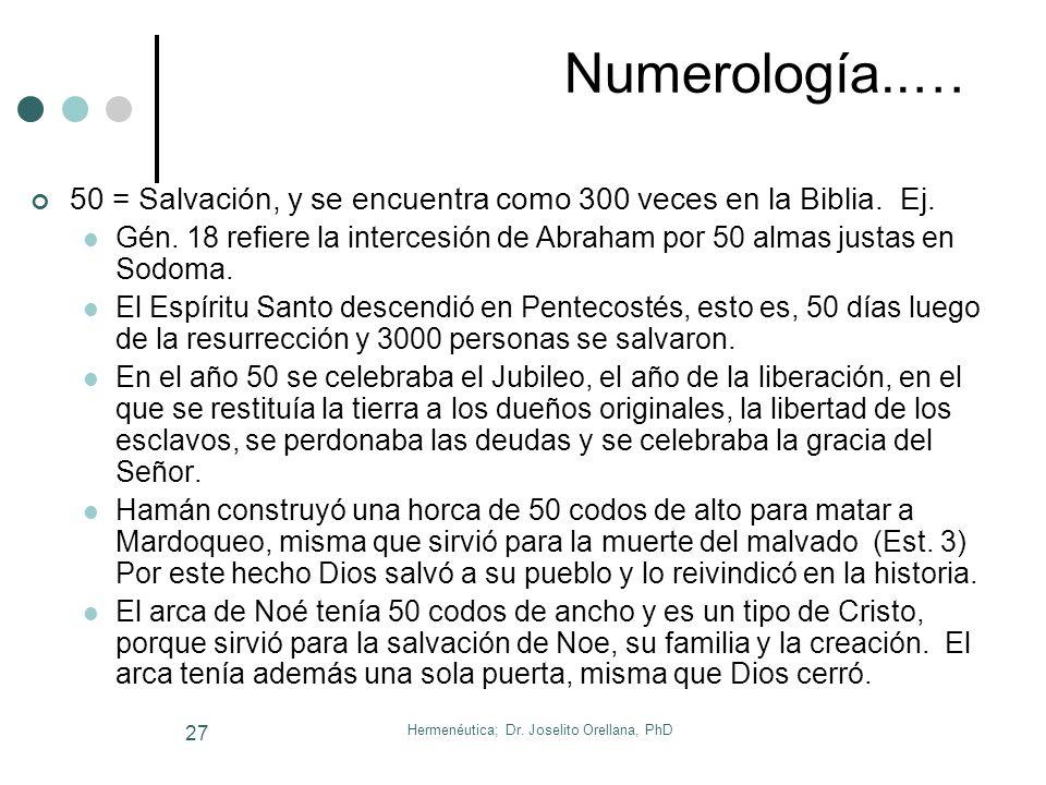 Hermenéutica; Dr. Joselito Orellana, PhD 26 Numerología..… 40 = Período espiritual significativo. Ej. La vida de Noe fue transformada durante 40 días