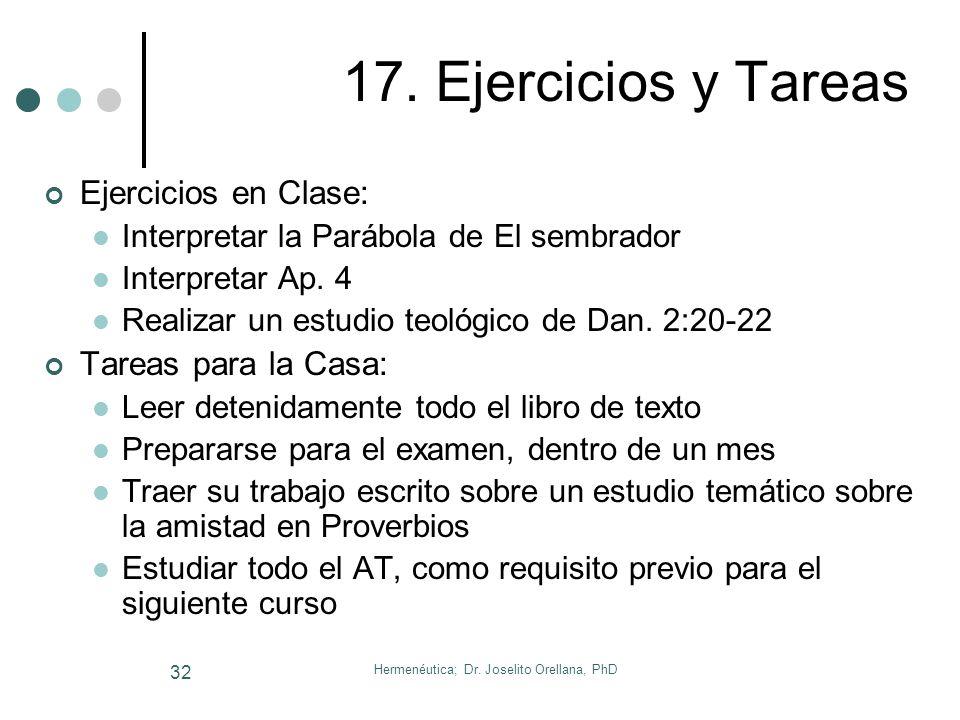 Hermenéutica; Dr. Joselito Orellana, PhD 31 16. La Tesis Bíblica 16. La Tesis Bíblica = Corazón del Sermón Proposición que afirmamos o negamos Estruct