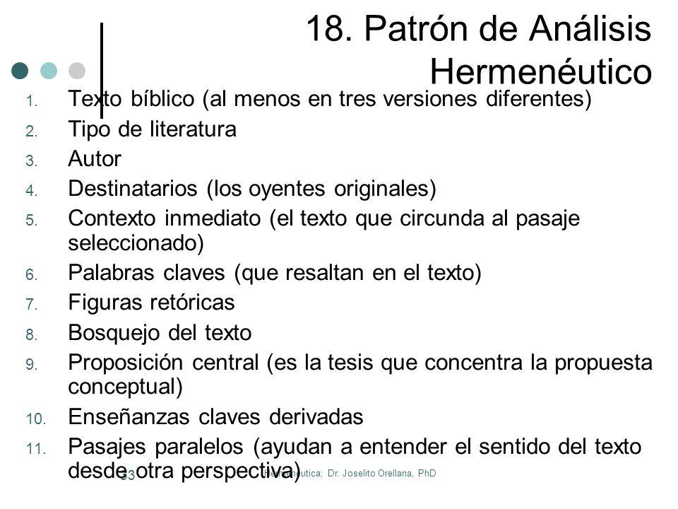 Hermenéutica; Dr. Joselito Orellana, PhD 32 17. Ejercicios y Tareas Ejercicios en Clase: Interpretar la Parábola de El sembrador Interpretar Ap. 4 Rea