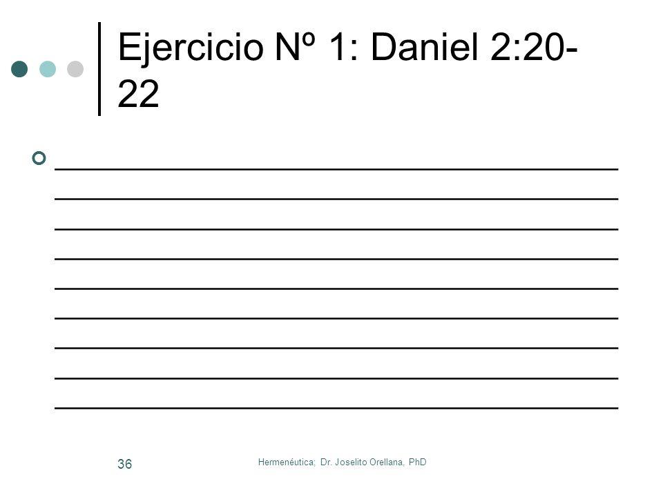 Hermenéutica; Dr. Joselito Orellana, PhD 35 Ejercicio Nº 1: Apocalipsis 4 _____________________________________ _____________________________________