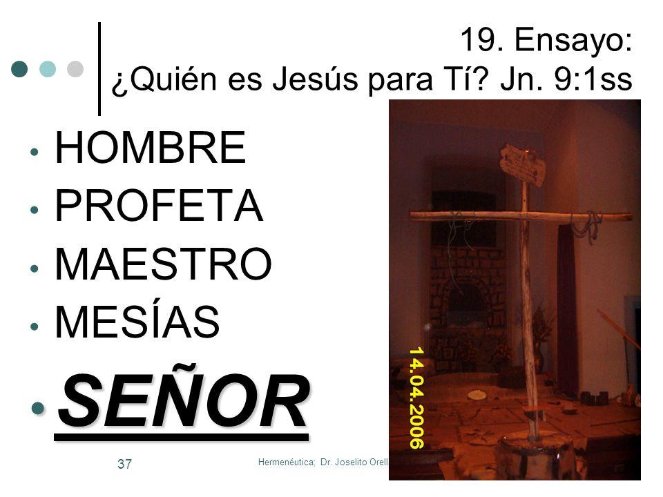 Hermenéutica; Dr. Joselito Orellana, PhD 36 Ejercicio Nº 1: Daniel 2:20- 22 _____________________________________ ____________________________________