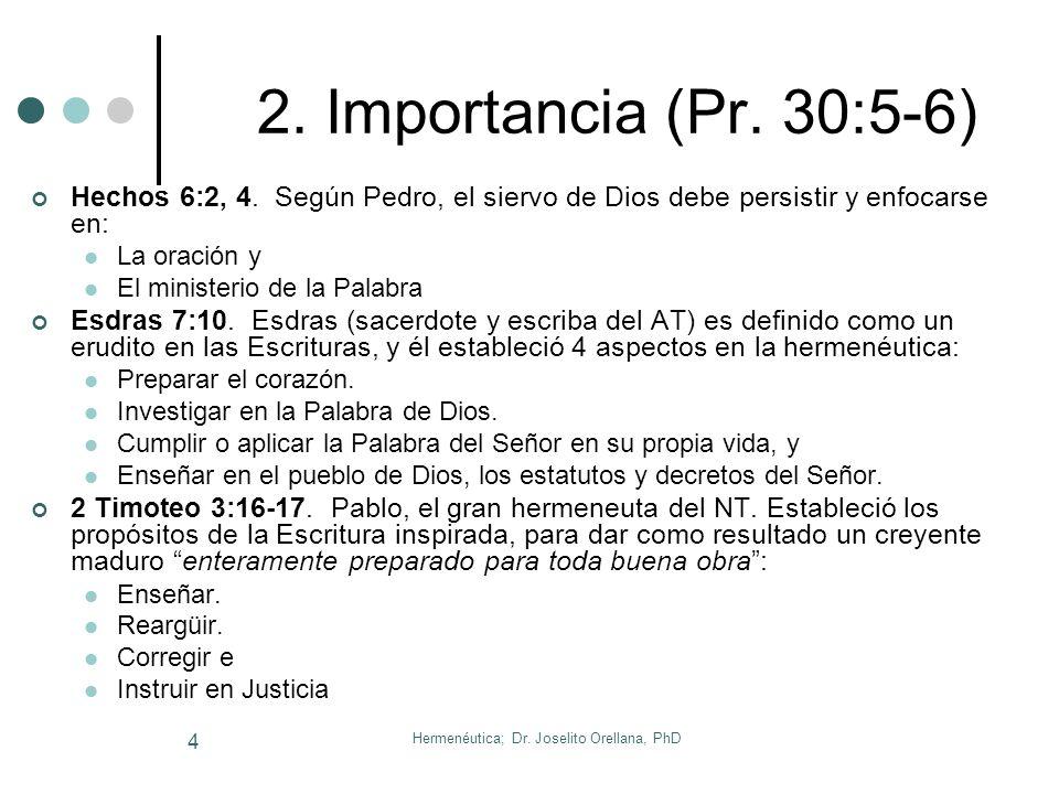 Hermenéutica; Dr. Joselito Orellana, PhD 3 1. Introducción La HERMENÉUTICA es la ciencia de la interpretación del Texto Bíblico. Del verbo Gr. Hermene