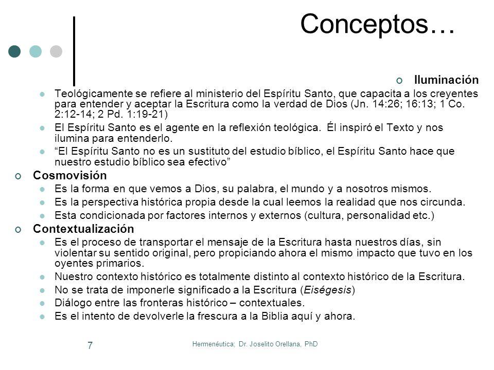 Hermenéutica; Dr. Joselito Orellana, PhD 6 4. Conceptos Teológicos Relevantes Teología Es la ciencia de Dios. Del Gr. Teos = Dios, y Lógos = Palabra,