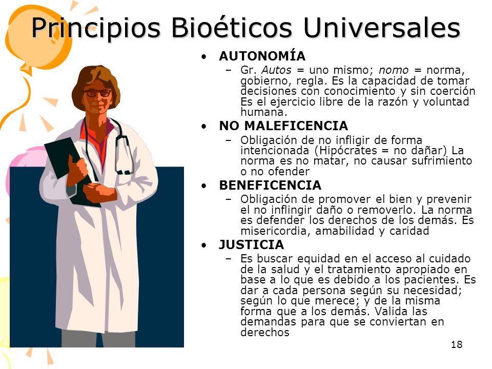 18 Principios Bioéticos Universales AUTONOMÍA –Gr. Autos = uno mismo; nomo = norma, gobierno, regla. Es la capacidad de tomar decisiones con conocimie