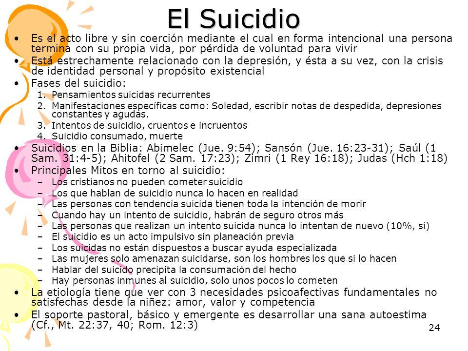 24 El Suicidio Es el acto libre y sin coerción mediante el cual en forma intencional una persona termina con su propia vida, por pérdida de voluntad p