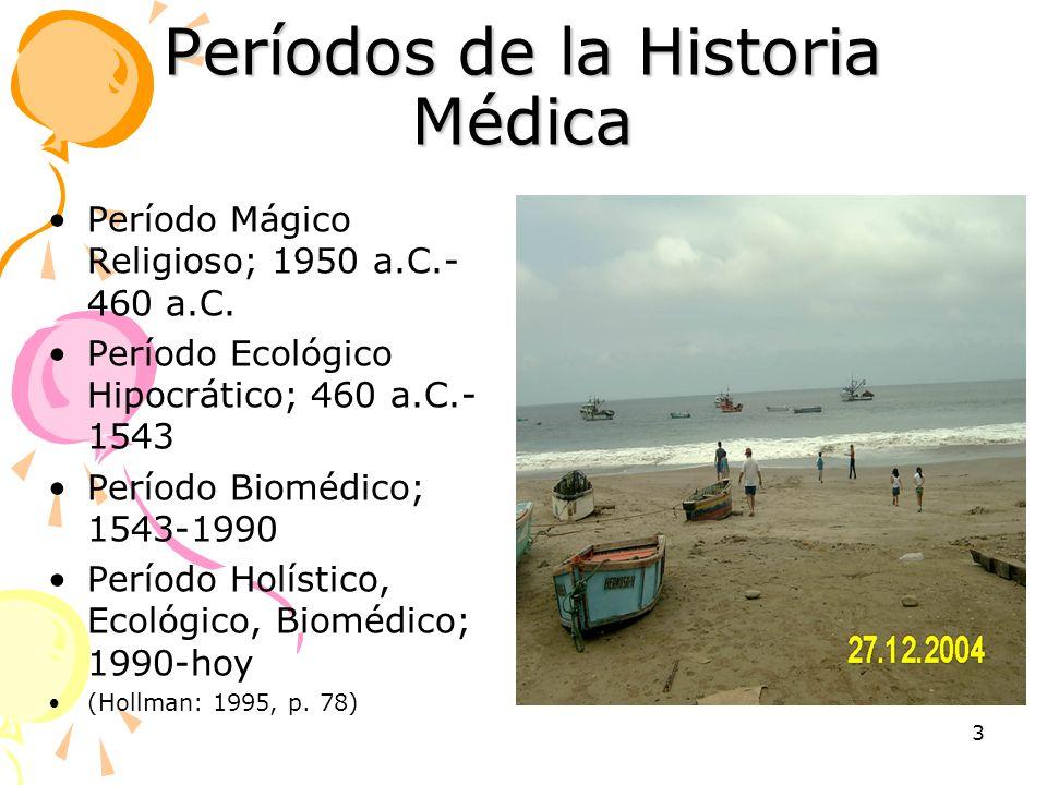 3 Períodos de la Historia Médica Período Mágico Religioso; 1950 a.C.- 460 a.C. Período Ecológico Hipocrático; 460 a.C.- 1543 Período Biomédico; 1543-1