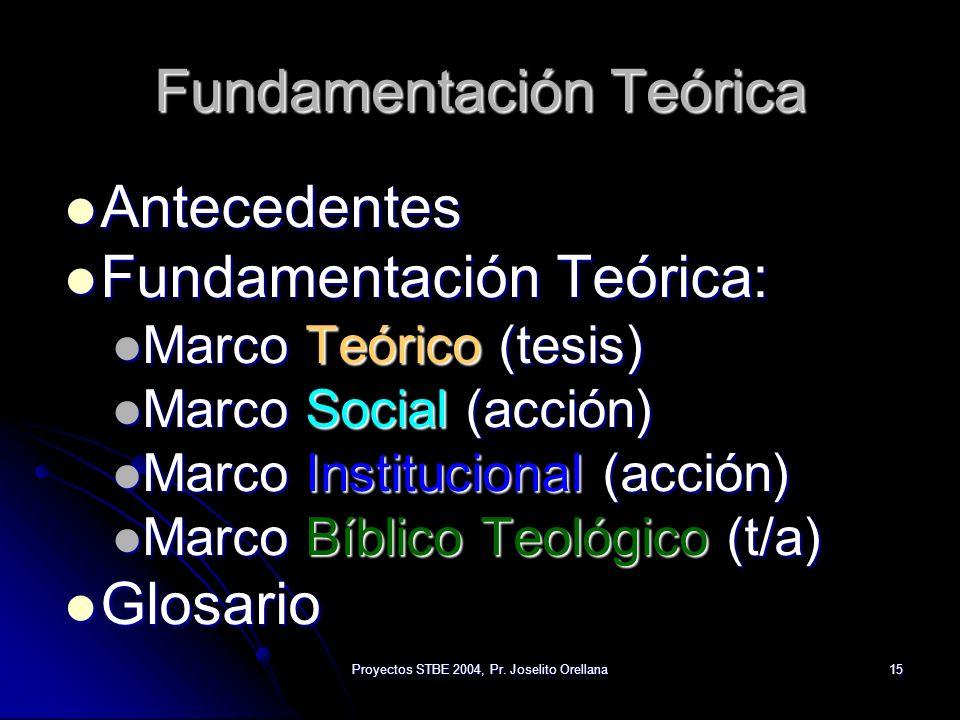 Proyectos STBE 2004, Pr. Joselito Orellana15 Fundamentación Teórica Antecedentes Antecedentes Fundamentación Teórica: Fundamentación Teórica: Marco Te