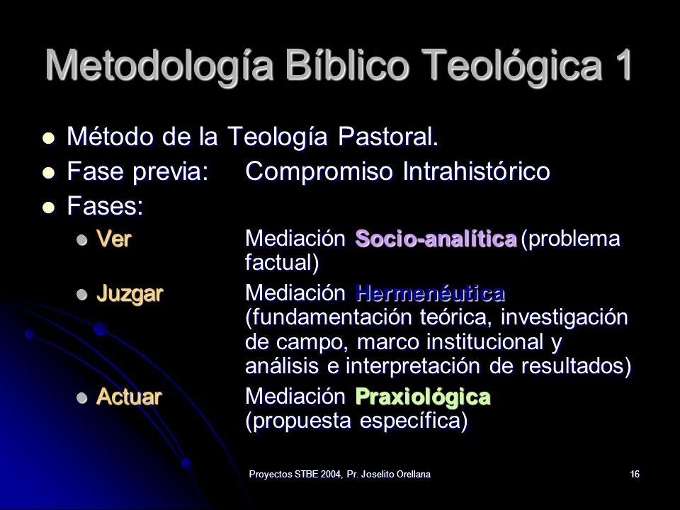 Proyectos STBE 2004, Pr. Joselito Orellana16 Metodología Bíblico Teológica 1 Método de la Teología Pastoral. Método de la Teología Pastoral. Fase prev