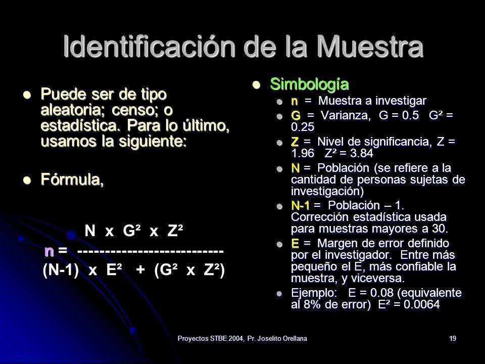 Proyectos STBE 2004, Pr. Joselito Orellana19 Identificación de la Muestra Puede ser de tipo aleatoria; censo; o estadística. Para lo último, usamos la