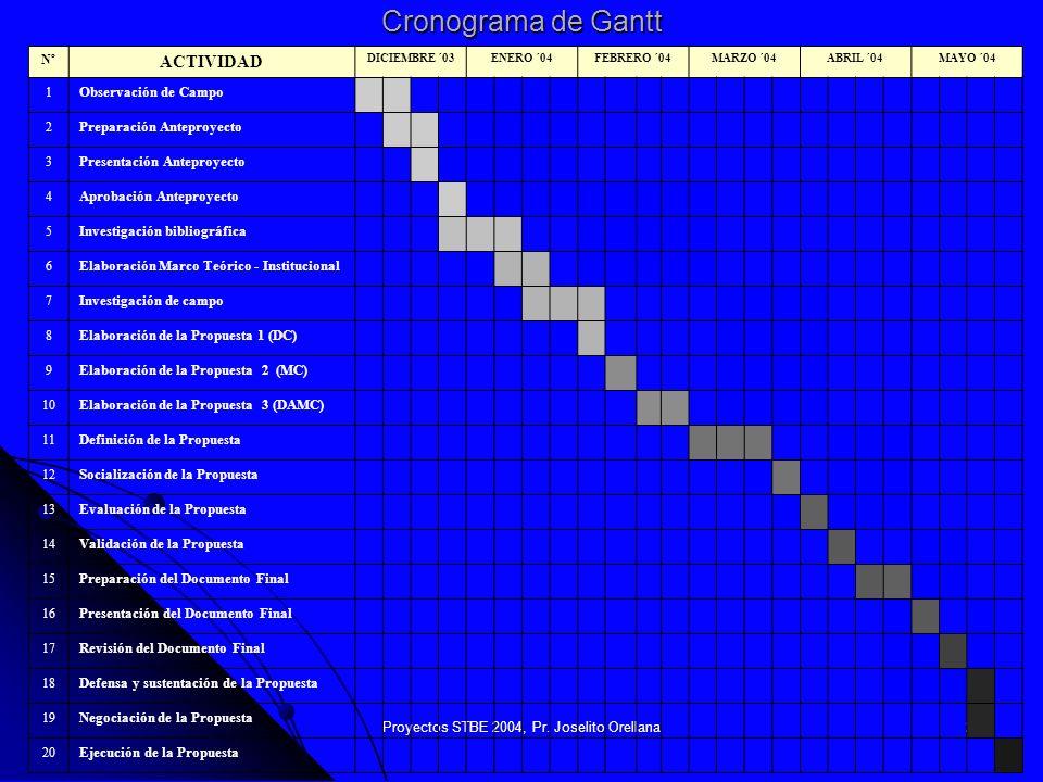 Proyectos STBE 2004, Pr. Joselito Orellana20 Cronograma de Gantt Nº ACTIVIDAD DICIEMBRE ´03ENERO ´04FEBRERO ´04MARZO ´04ABRIL ´04MAYO ´04 1 Observació