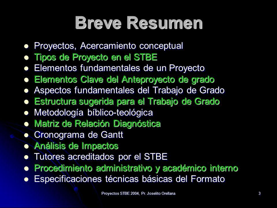 Proyectos STBE 2004, Pr. Joselito Orellana3 Breve Resumen Proyectos, Acercamiento conceptual Proyectos, Acercamiento conceptual Tipos de Proyecto en e
