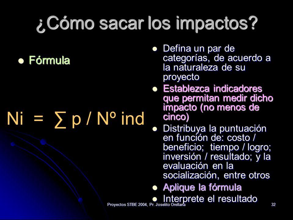 Proyectos STBE 2004, Pr. Joselito Orellana32 ¿Cómo sacar los impactos? Fórmula Fórmula Defina un par de categorías, de acuerdo a la naturaleza de su p