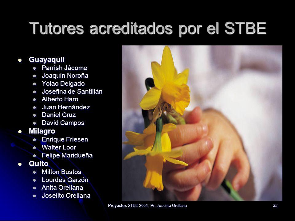 Proyectos STBE 2004, Pr. Joselito Orellana33 Tutores acreditados por el STBE Guayaquil Parrish Jácome Joaquín Noroña Yolao Delgado Josefina de Santill