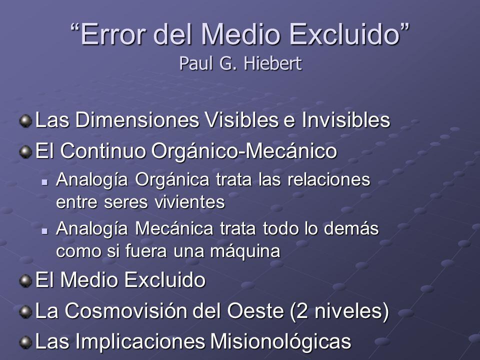 Error del Medio Excluido Paul G. Hiebert Las Dimensiones Visibles e Invisibles El Continuo Orgánico-Mecánico Analogía Orgánica trata las relaciones en