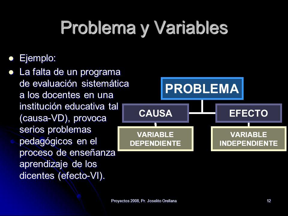 Proyectos 2008, Pr. Joselito Orellana12 Problema y Variables Ejemplo: Ejemplo: La falta de un programa de evaluación sistemática a los docentes en una