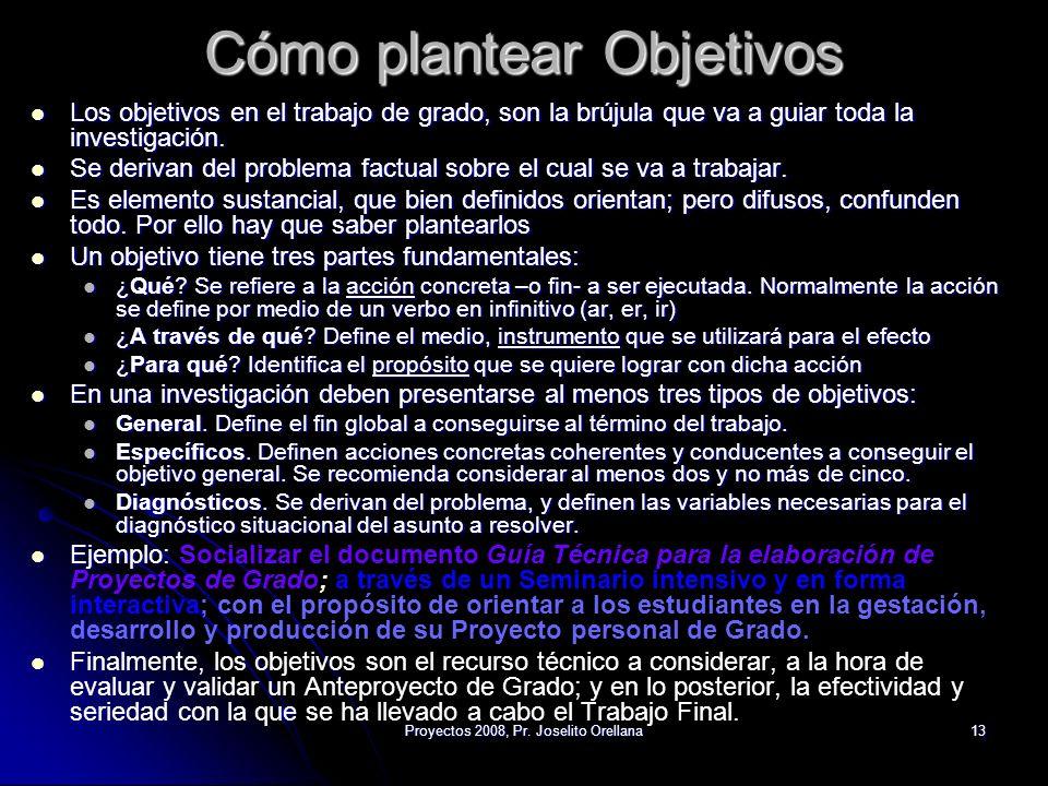 Proyectos 2008, Pr. Joselito Orellana13 Cómo plantear Objetivos Los objetivos en el trabajo de grado, son la brújula que va a guiar toda la investigac