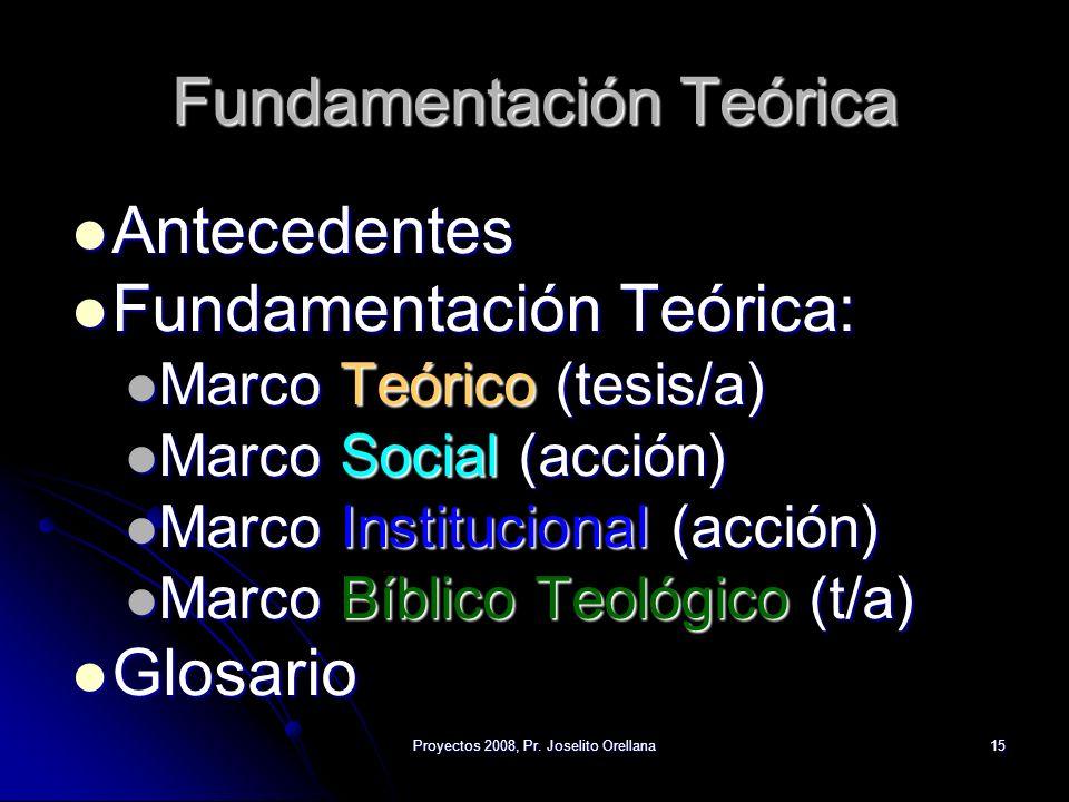 Proyectos 2008, Pr. Joselito Orellana15 Fundamentación Teórica Antecedentes Antecedentes Fundamentación Teórica: Fundamentación Teórica: Marco Teórico