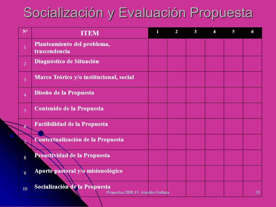 Proyectos 2008, Pr. Joselito Orellana31 Socialización y Evaluación Propuesta Nº ITEM 123456 1 Planteamiento del problema, trascendencia 2 Diagnóstico