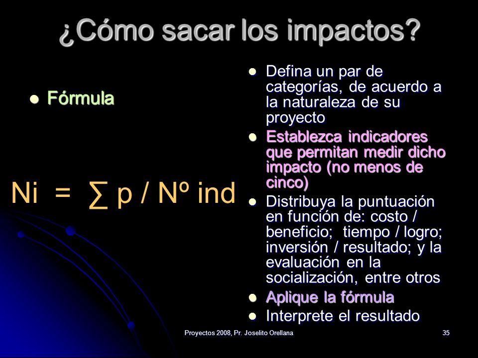 Proyectos 2008, Pr. Joselito Orellana35 ¿Cómo sacar los impactos? Fórmula Fórmula Defina un par de categorías, de acuerdo a la naturaleza de su proyec