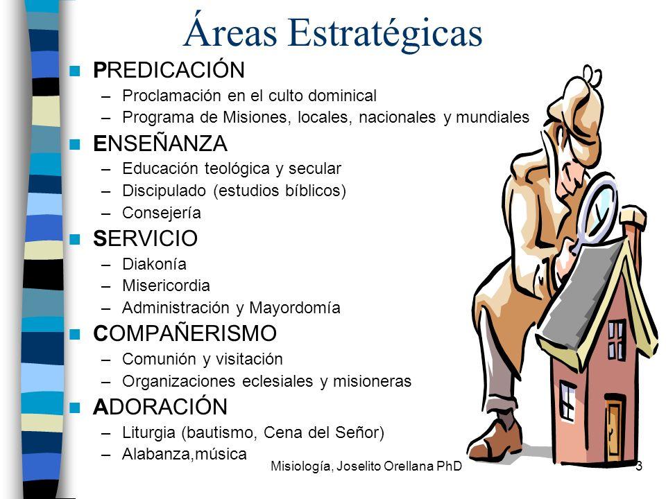 Misiología, Joselito Orellana PhD3 Áreas Estratégicas PREDICACIÓN –Proclamación en el culto dominical –Programa de Misiones, locales, nacionales y mun