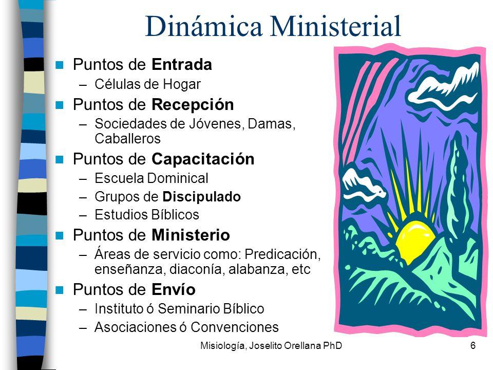Misiología, Joselito Orellana PhD6 Dinámica Ministerial Puntos de Entrada –Células de Hogar Puntos de Recepción –Sociedades de Jóvenes, Damas, Caballe
