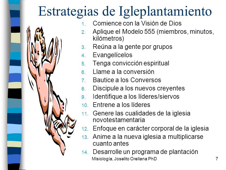 Misiología, Joselito Orellana PhD7 Estrategias de Igleplantamiento 1. Comience con la Visión de Dios 2. Aplique el Modelo 555 (miembros, minutos, kiló