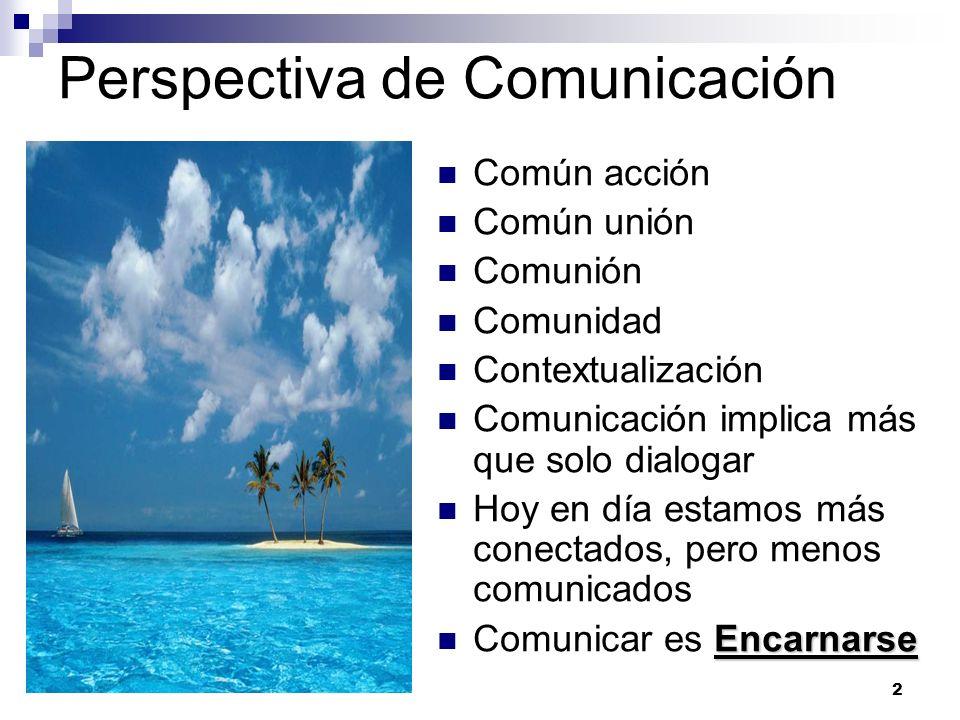 2 Perspectiva de Comunicación Común acción Común unión Comunión Comunidad Contextualización Comunicación implica más que solo dialogar Hoy en día esta