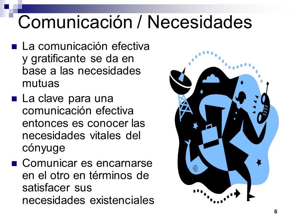 5 Comunicación / Necesidades La comunicación efectiva y gratificante se da en base a las necesidades mutuas La clave para una comunicación efectiva en