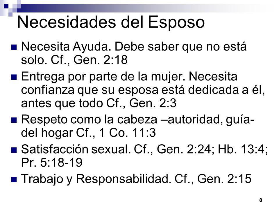 8 Necesidades del Esposo Necesita Ayuda. Debe saber que no está solo. Cf., Gen. 2:18 Entrega por parte de la mujer. Necesita confianza que su esposa e