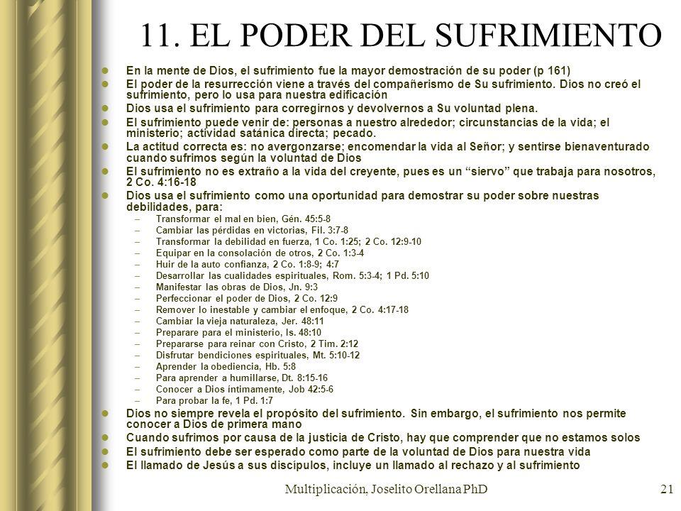 Multiplicación, Joselito Orellana PhD21 11. EL PODER DEL SUFRIMIENTO En la mente de Dios, el sufrimiento fue la mayor demostración de su poder (p 161)