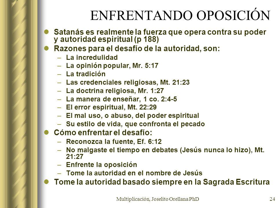 Multiplicación, Joselito Orellana PhD24 ENFRENTANDO OPOSICIÓN Satanás es realmente la fuerza que opera contra su poder y autoridad espiritual (p 188)