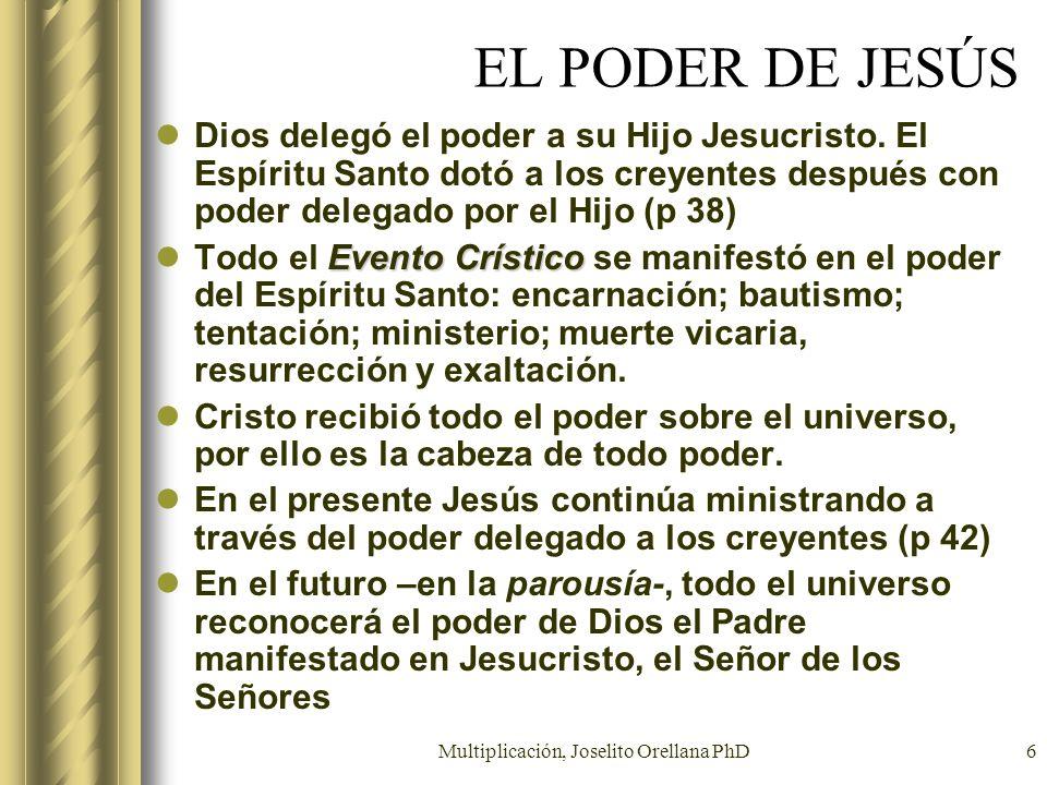 Multiplicación, Joselito Orellana PhD6 EL PODER DE JESÚS Dios delegó el poder a su Hijo Jesucristo. El Espíritu Santo dotó a los creyentes después con
