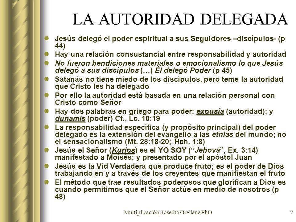 Multiplicación, Joselito Orellana PhD7 LA AUTORIDAD DELEGADA Jesús delegó el poder espiritual a sus Seguidores –discípulos- (p 44) Hay una relación co
