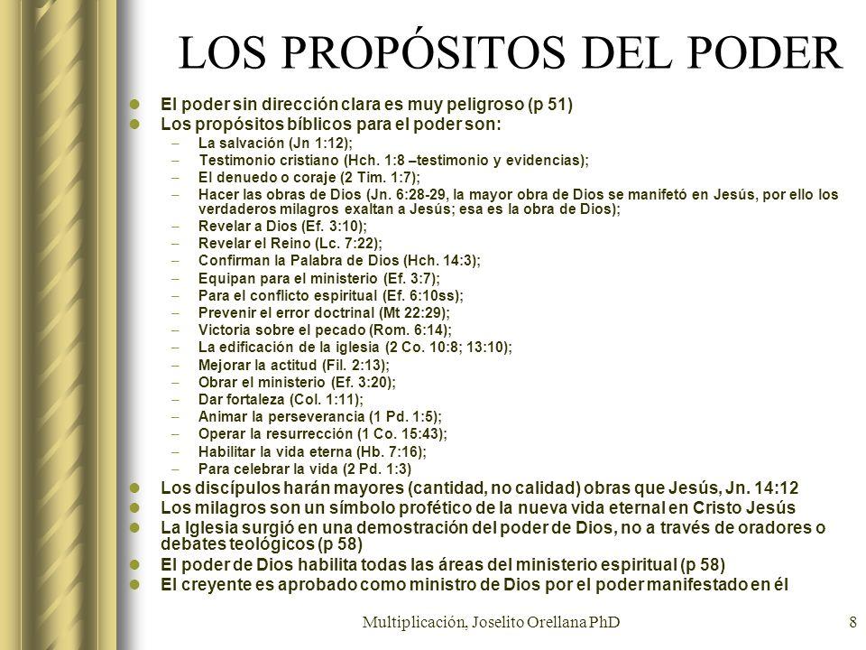 Multiplicación, Joselito Orellana PhD8 LOS PROPÓSITOS DEL PODER El poder sin dirección clara es muy peligroso (p 51) Los propósitos bíblicos para el p