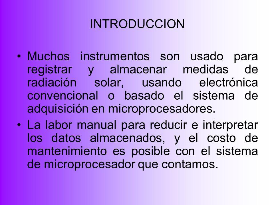 INTRODUCCION Muchos instrumentos son usado para registrar y almacenar medidas de radiación solar, usando electrónica convencional o basado el sistema