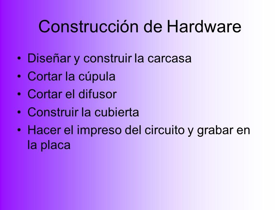 Construcción de Hardware Diseñar y construir la carcasa Cortar la cúpula Cortar el difusor Construir la cubierta Hacer el impreso del circuito y graba