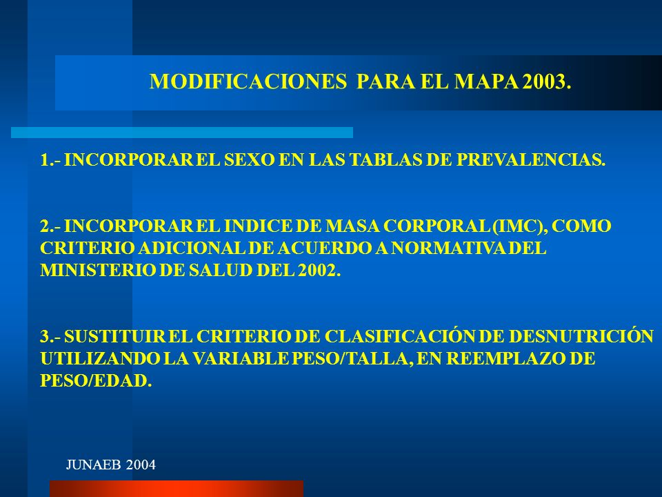 MODIFICACIONES PARA EL MAPA 2003. 1.- INCORPORAR EL SEXO EN LAS TABLAS DE PREVALENCIAS. 2.- INCORPORAR EL INDICE DE MASA CORPORAL (IMC), COMO CRITERIO