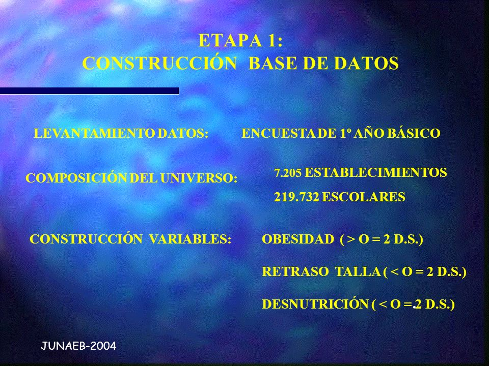 . JUNAEB-2004 ETAPA 1: CONSTRUCCIÓN BASE DE DATOS LEVANTAMIENTO DATOS: ENCUESTA DE 1º AÑO BÁSICO COMPOSICIÓN DEL UNIVERSO: 7.205 ESTABLECIMIENTOS 219.