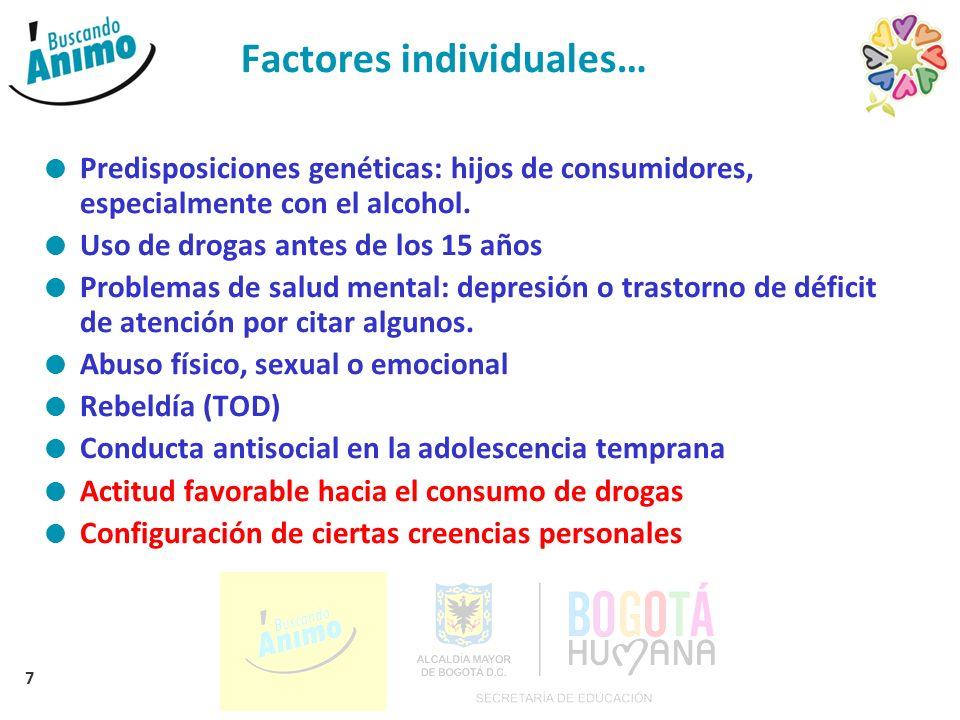 7 Factores individuales… Predisposiciones genéticas: hijos de consumidores, especialmente con el alcohol.