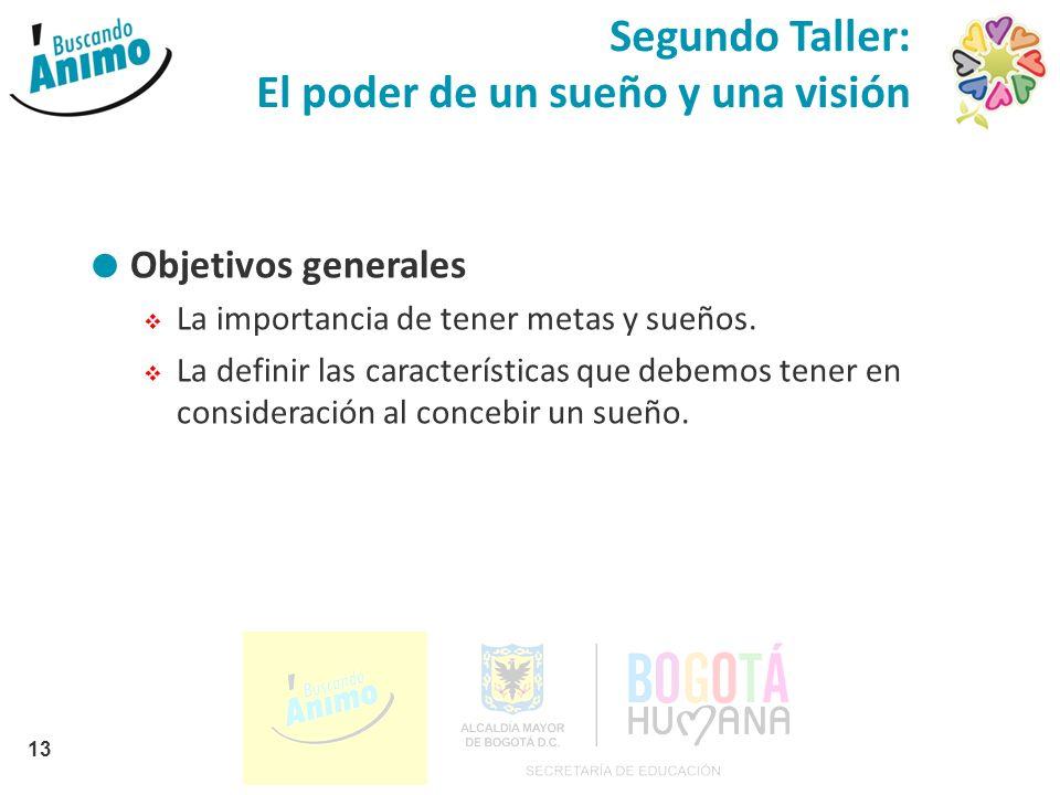 Segundo Taller: El poder de un sueño y una visión Objetivos generales La importancia de tener metas y sueños. La definir las características que debem
