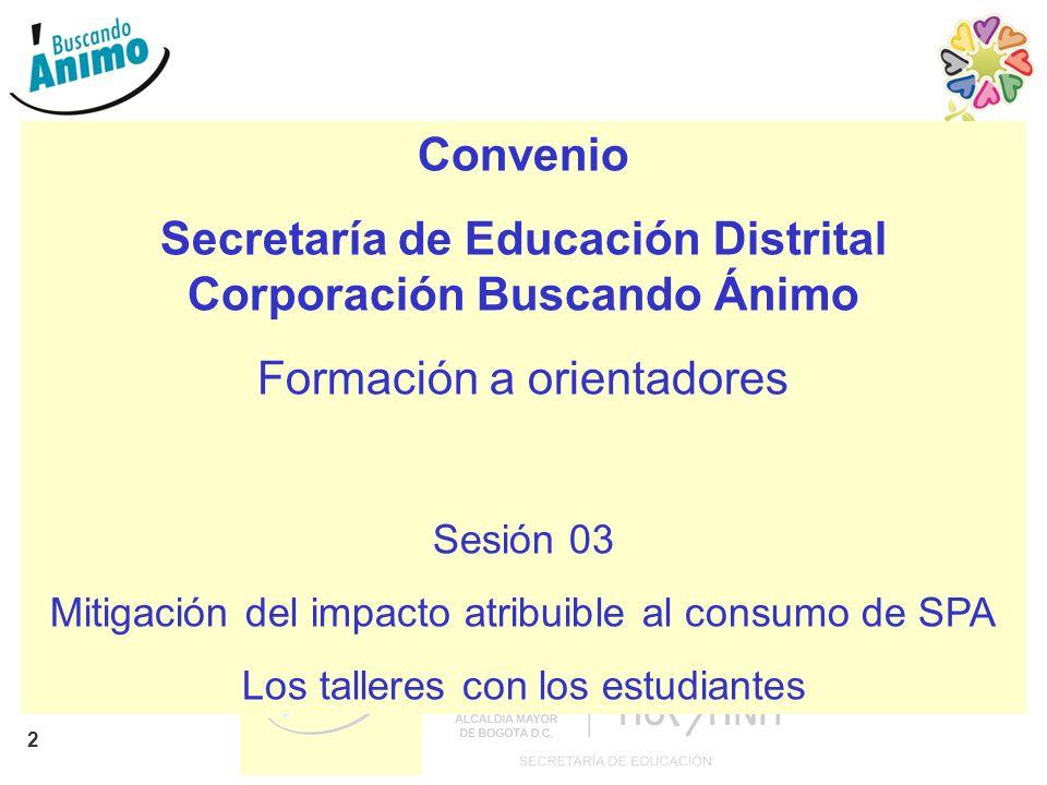 2 Convenio Secretaría de Educación Distrital Corporación Buscando Ánimo Formación a orientadores Sesión 03 Mitigación del impacto atribuible al consum