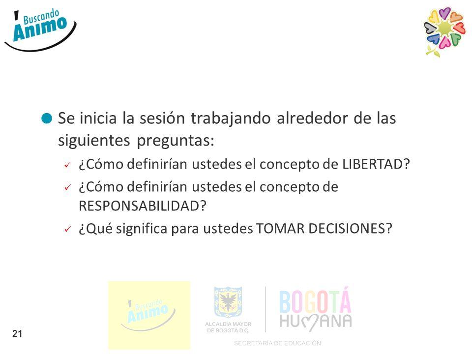 Se inicia la sesión trabajando alrededor de las siguientes preguntas: ¿Cómo definirían ustedes el concepto de LIBERTAD? ¿Cómo definirían ustedes el co
