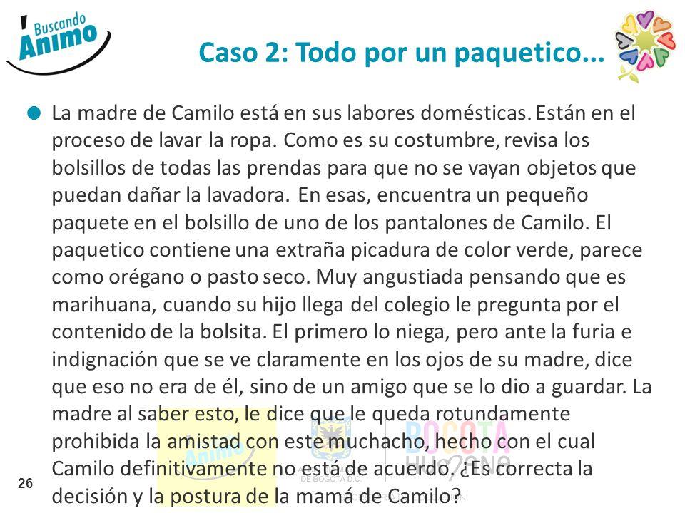 Caso 2: Todo por un paquetico... La madre de Camilo está en sus labores domésticas. Están en el proceso de lavar la ropa. Como es su costumbre, revisa