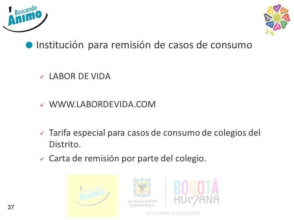 Institución para remisión de casos de consumo LABOR DE VIDA WWW.LABORDEVIDA.COM Tarifa especial para casos de consumo de colegios del Distrito. Carta