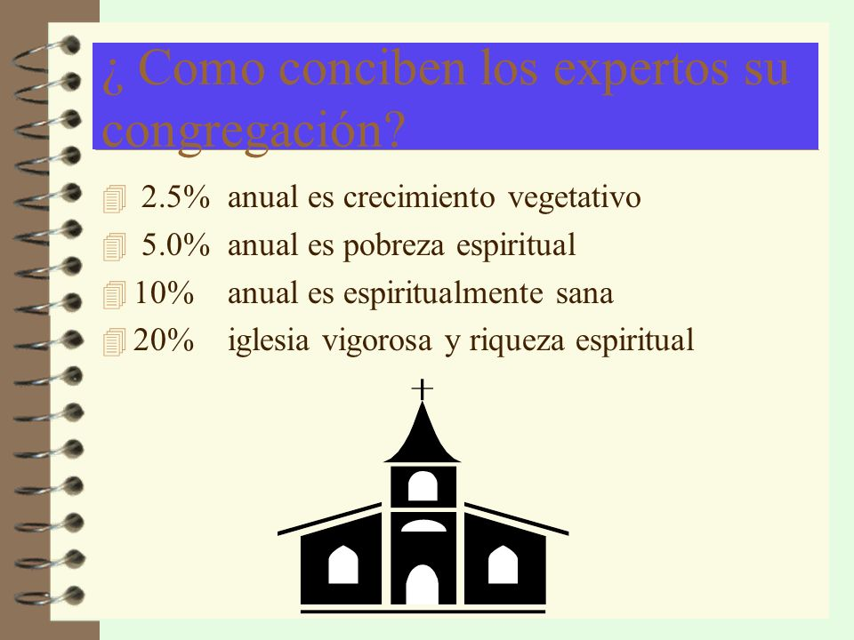¿ Como conciben los expertos su congregación? 4 2.5% anual es crecimiento vegetativo 4 5.0% anual es pobreza espiritual 4 10% anual es espiritualmente